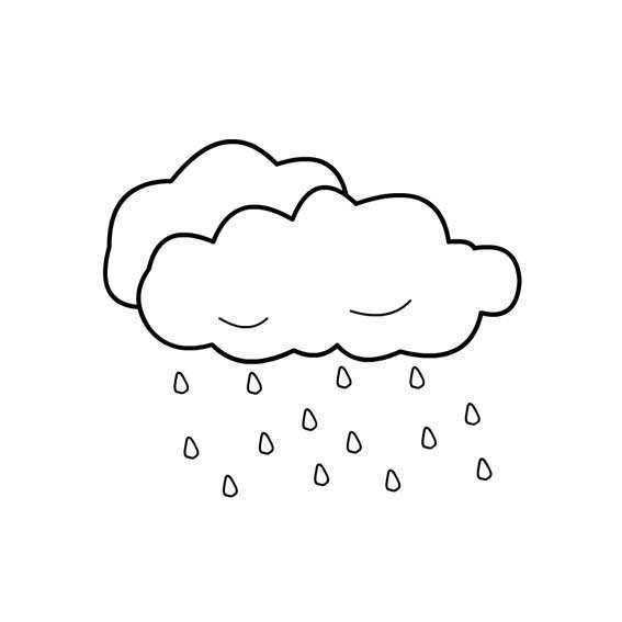 关于平静的简笔画 关于下雨的简笔画图片