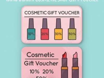 化妆品店活动手绘图 手绘化妆品店礼品券