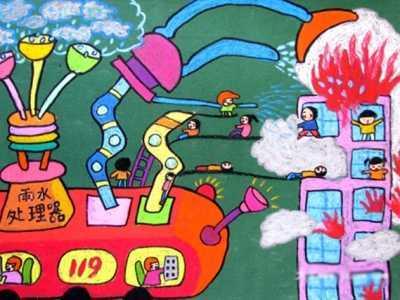 校园消防安全绘画作品 消防安全儿童画作品欣赏