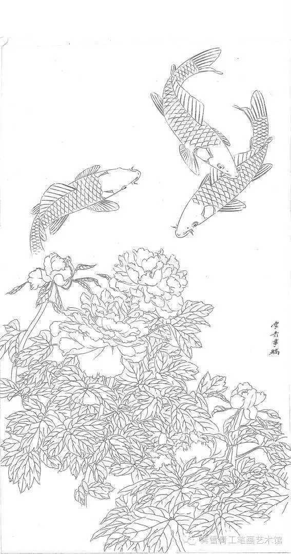 首页 百科 电脑小技巧   步骤一  这幅中堂是白色牡丹和鲤鱼的组合