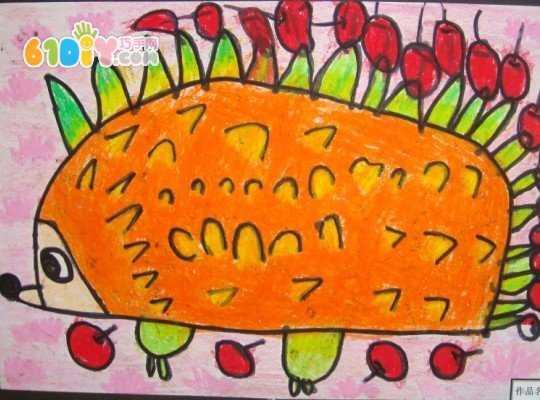 小班作品——刺猬  刺猬先画半圆中的一横线,家长可以再纸上先用手指
