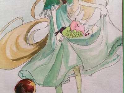 卡通人物图片女孩手绘 快乐的小女孩彩铅动漫人物手绘