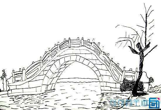 桥怎么画图片 简笔画桥的风景怎么画