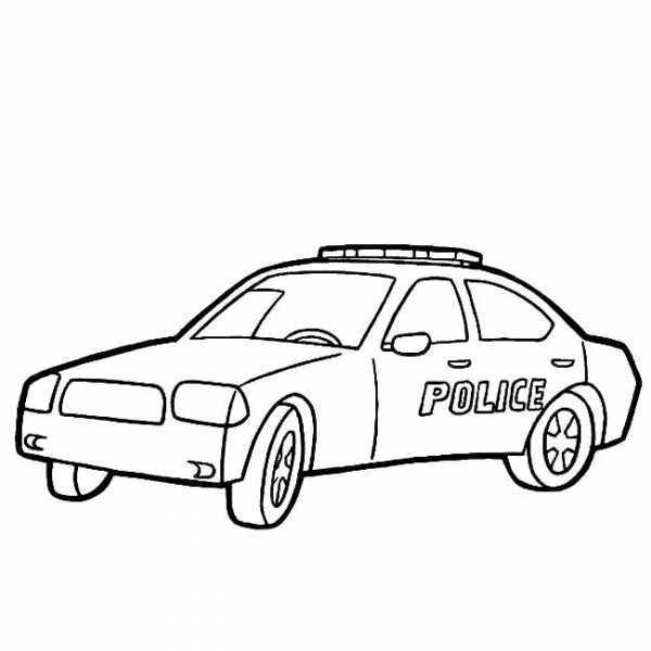 物品简笔画栏目里的 警车简笔画图片大全,儿童